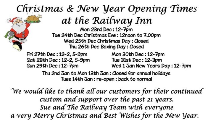 December & January Opening Times