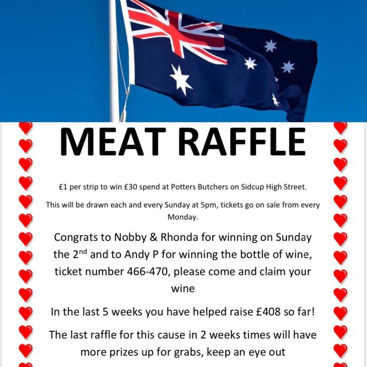 Meat raffle Sunday the 2nd Feb