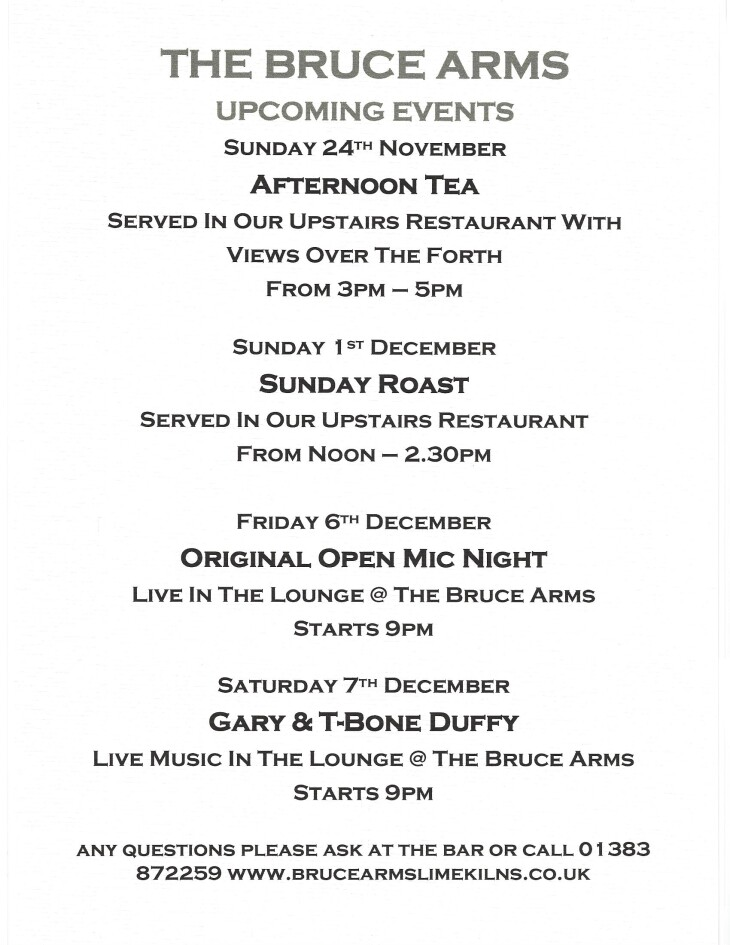 Upcoming Events  @ The Bruce....