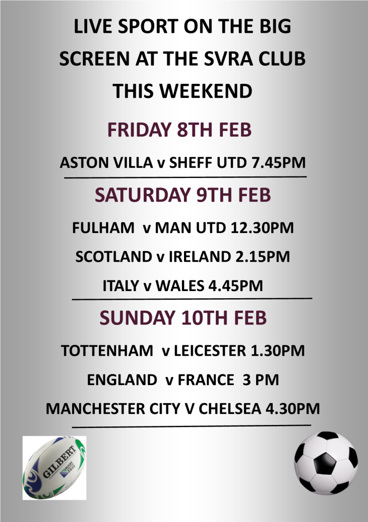 LIVE SPORT SHOWING THIS WEEKEND
