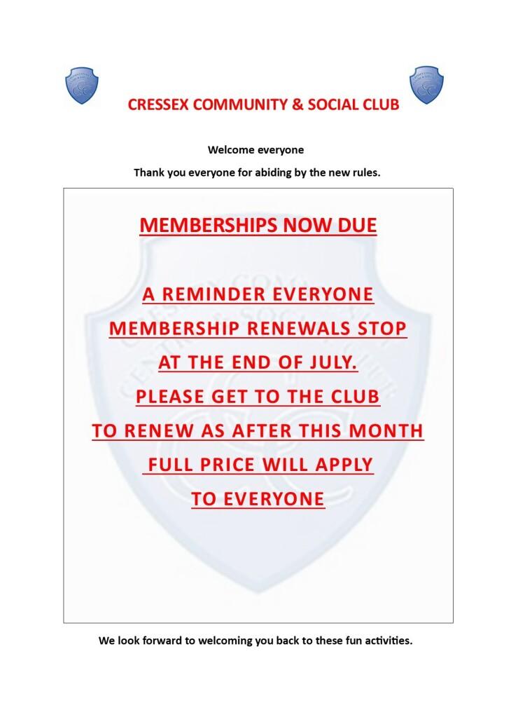 Membership renewal reminder