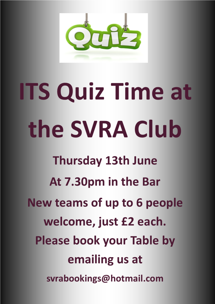 SVRA Cash Prize Quiz Next Thursday