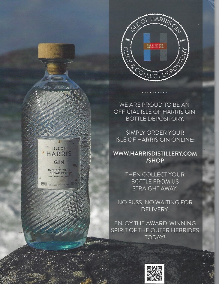 Stockists of Isle of Harris Gin.....