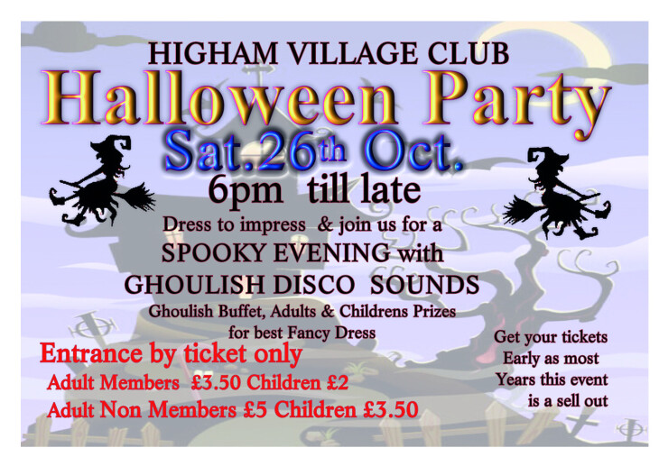 Halloween Party Saturday 26th October