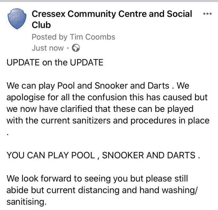 Club update - Pool and Snooker