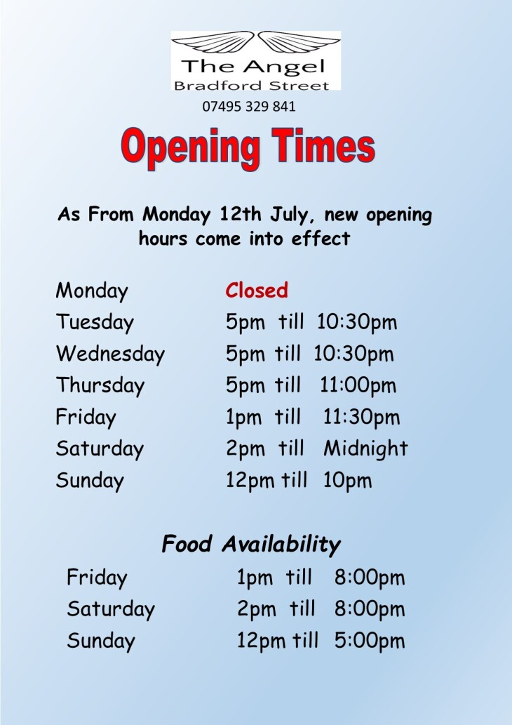 OPENING TIME CHANGES