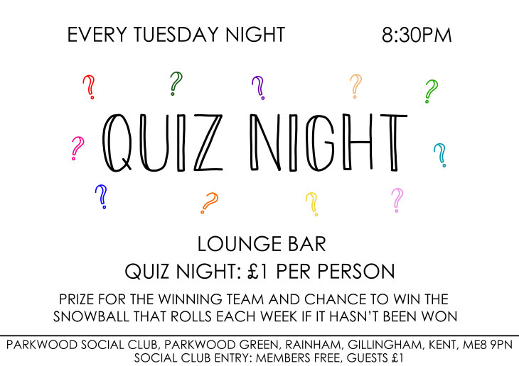QUIZ NIGHT - EVERY TUESDAY