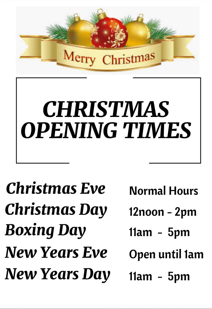 Opening Hours over Christmas