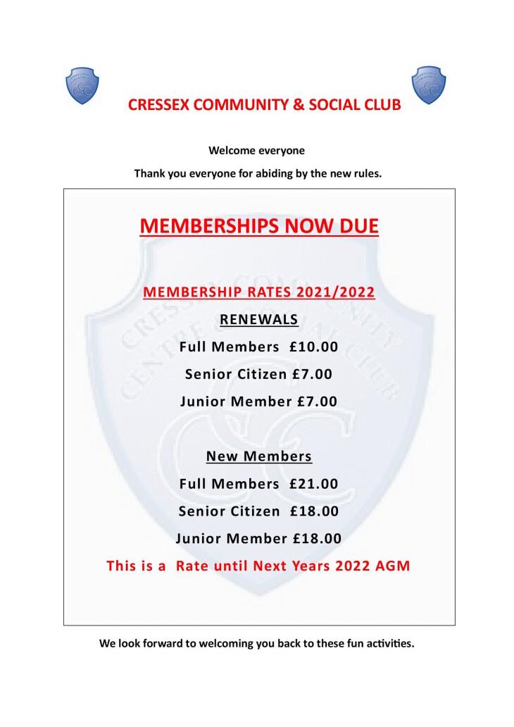 Club membership & renewals 2021