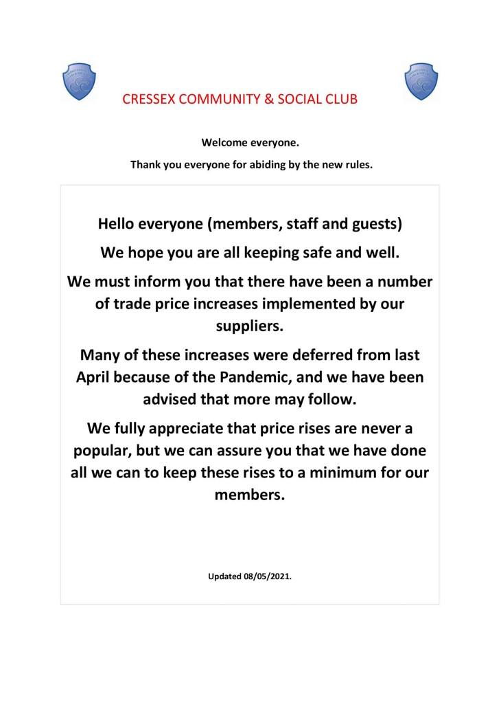 Club bar price advice 2021