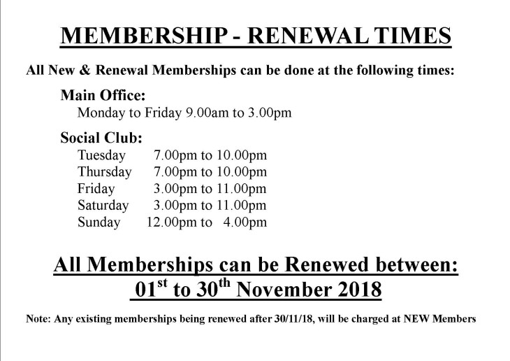 MEMBERSHIP - RENEWAL TIMES