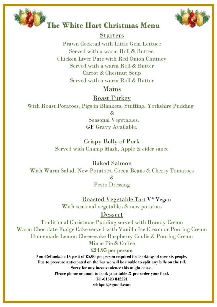 The White Hart Christmas Menu