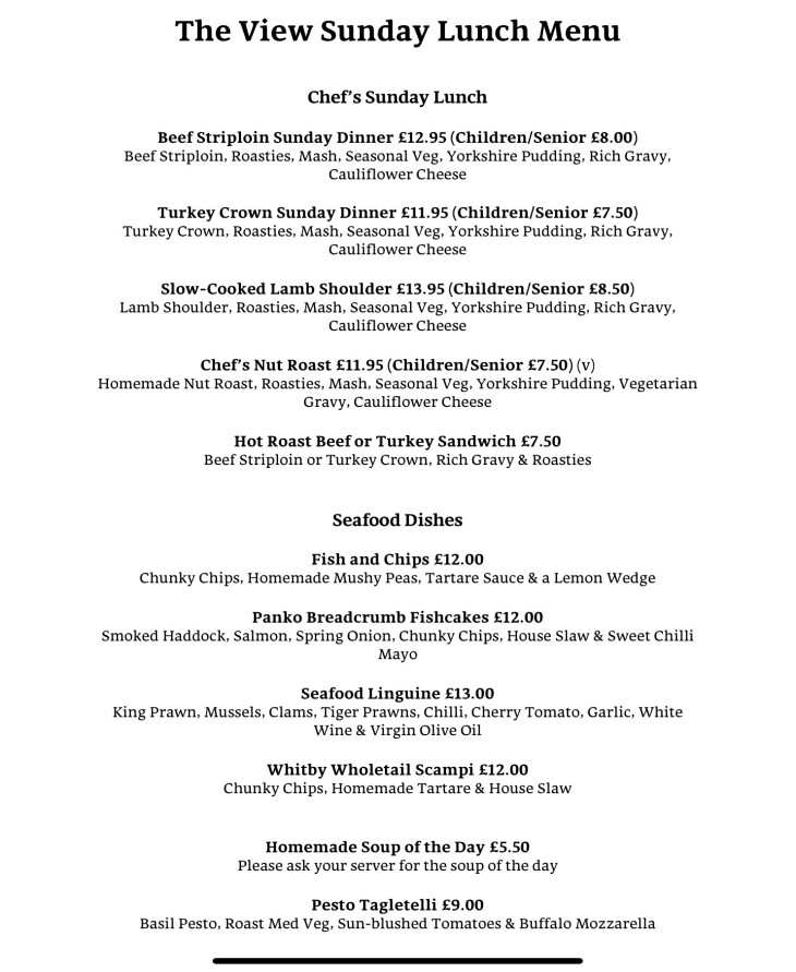 Sunday Lunches Sunday 15th December