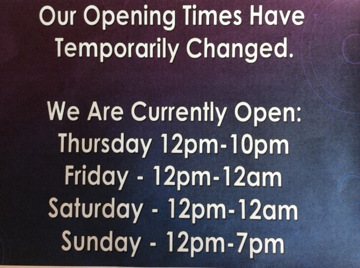 THURSDAY OPENING FROM TODAY!