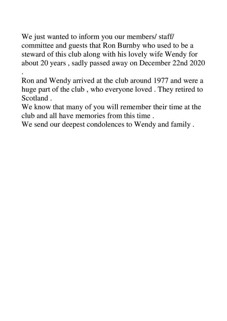 Club Notification - Ron Burnby