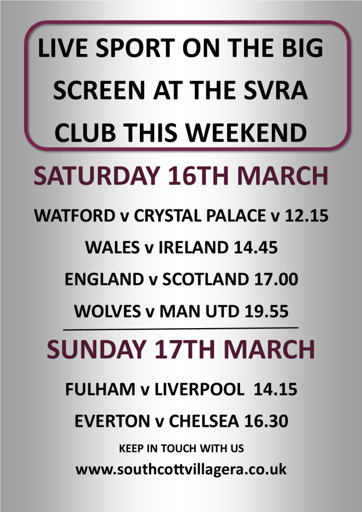LIVE SPORT SHOWING AT THE SVRA CLUB