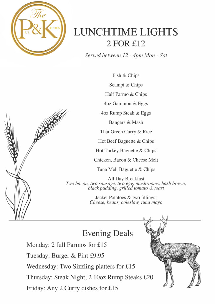 Lunchtime Menu - 2 for £12