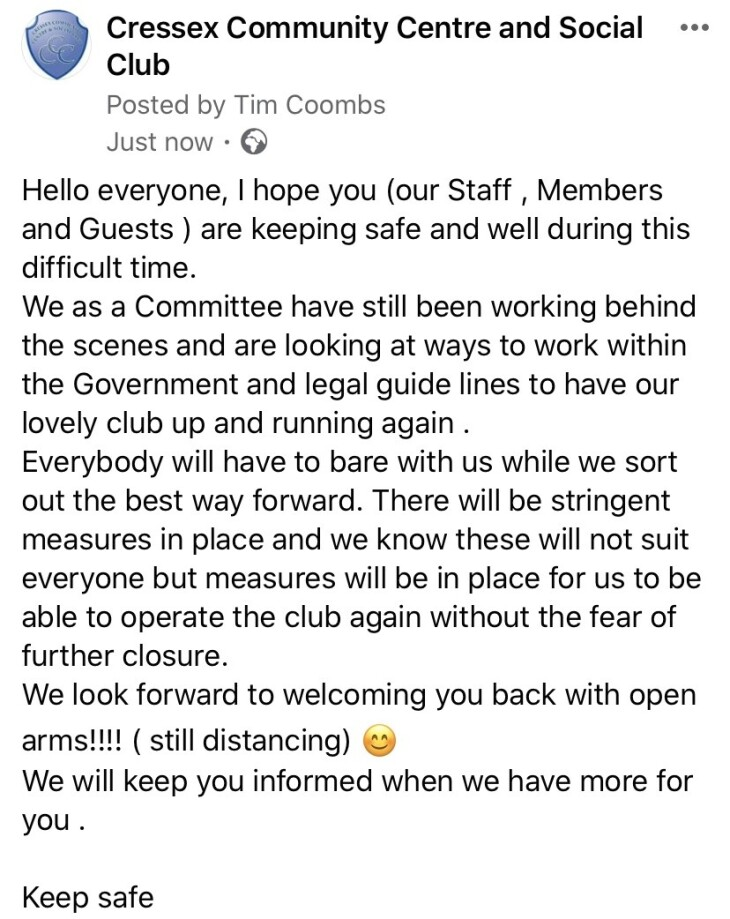 Club update June 2020