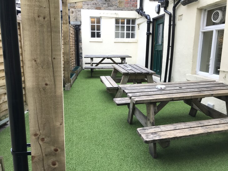 The beer garden is looking good