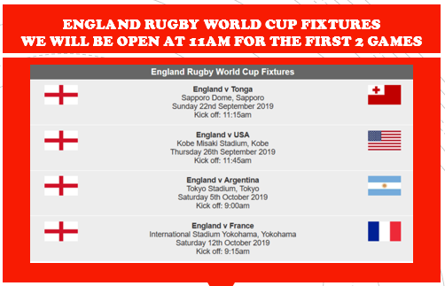 RUGBY WORLD CUP COMING UP SOON!