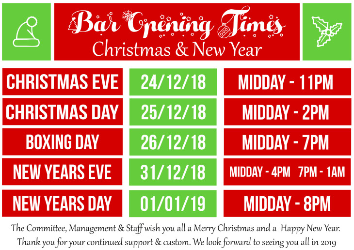 Christmas & New Year Bar Opening Times