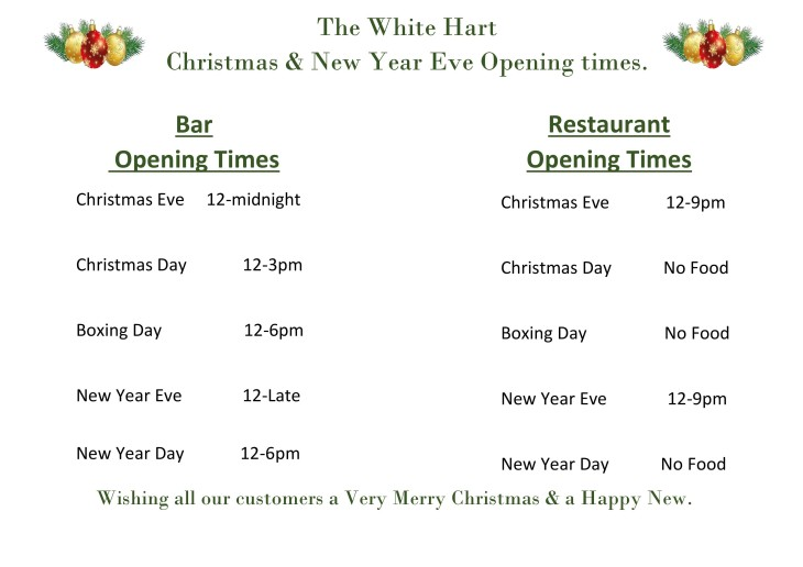 Christmas & New Year Opening Times.