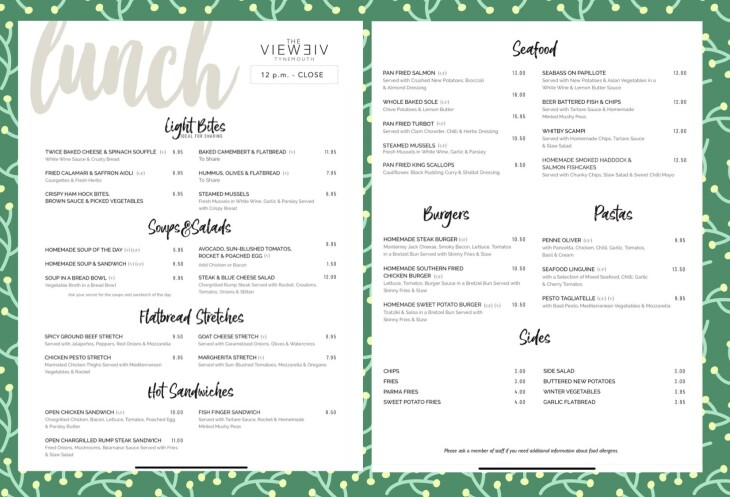 New Lunch Menu