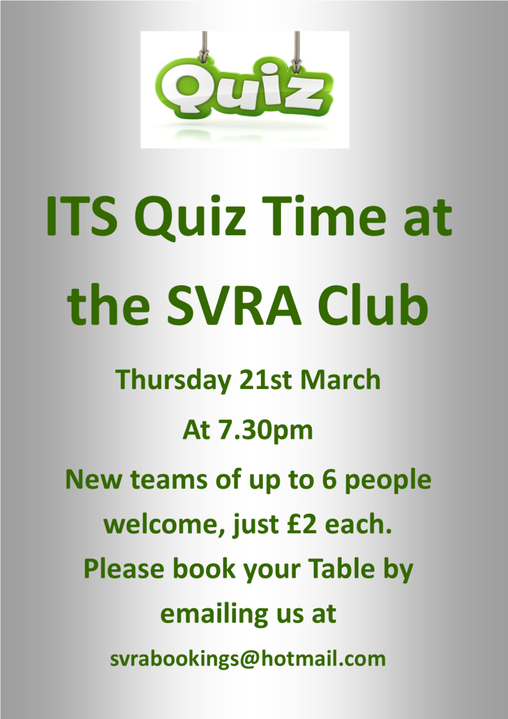 THE SVRA QUIZ IS THIS THURSDAY