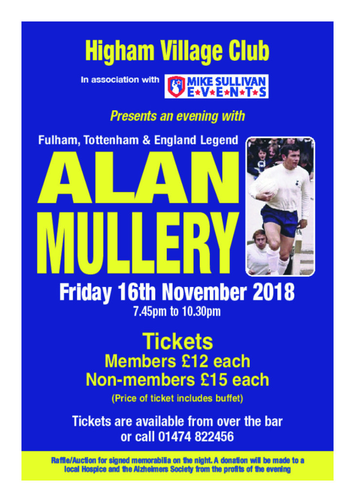 Alan Mullery Night 16 November 2018