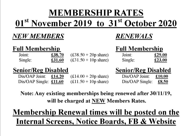 Membership Rates 01-11-19 to 31-10-20
