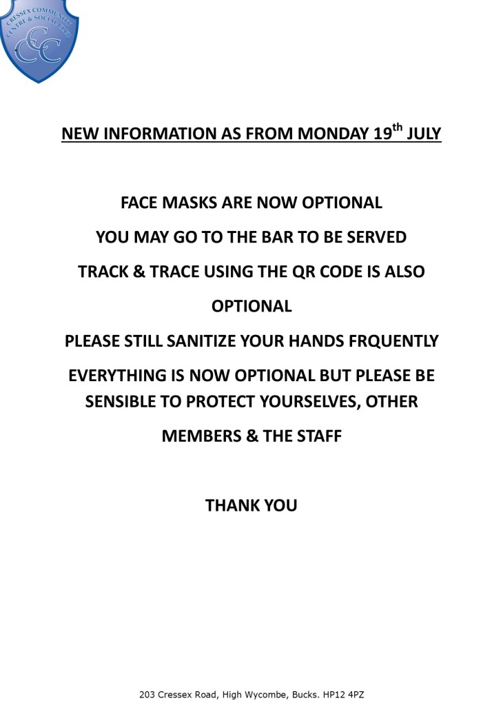 New rules applicable from 19/07/21