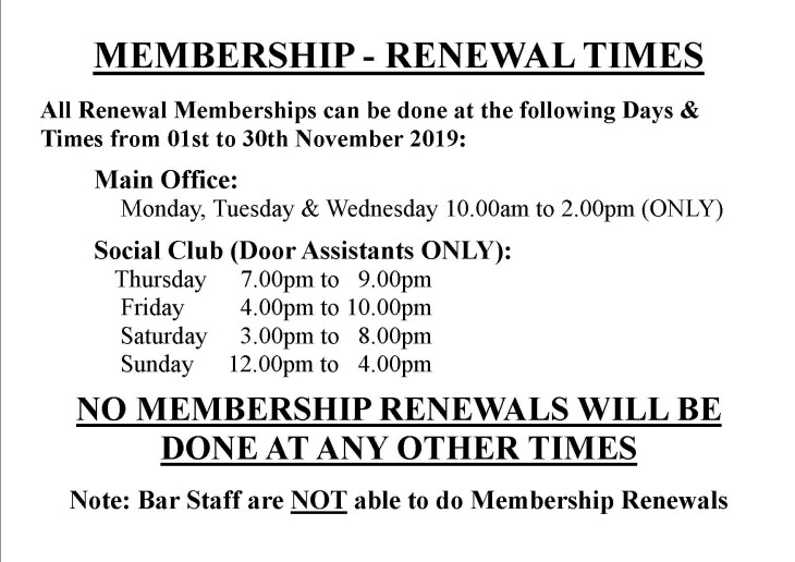 Membership Renewals - Days & Times