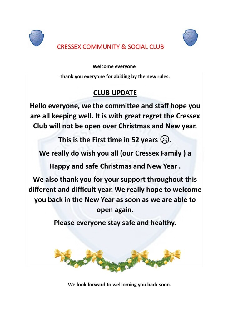 Cressex Club Xmas Update 2020