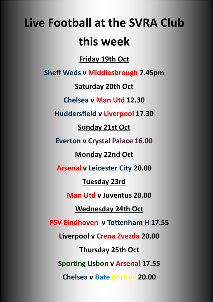 Live Matches at the SVRA Club