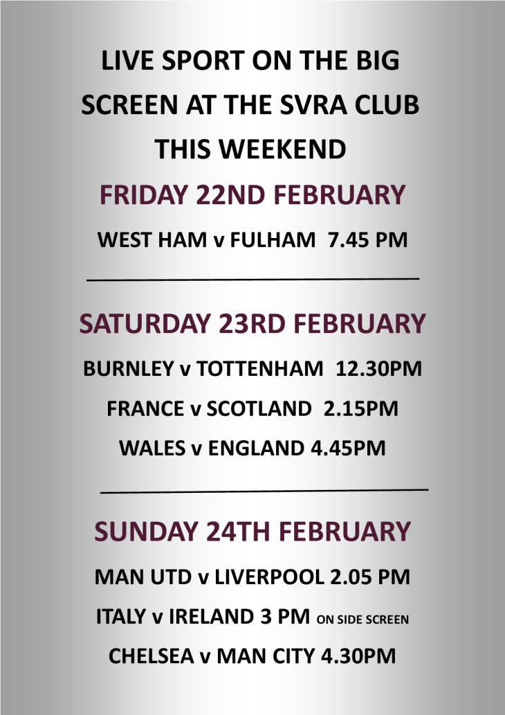 Live Sport this Weekend at SVRA Club