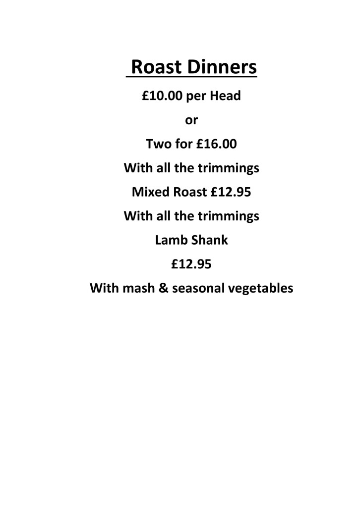 Sunday Roasts £10 per person or 2 for £16