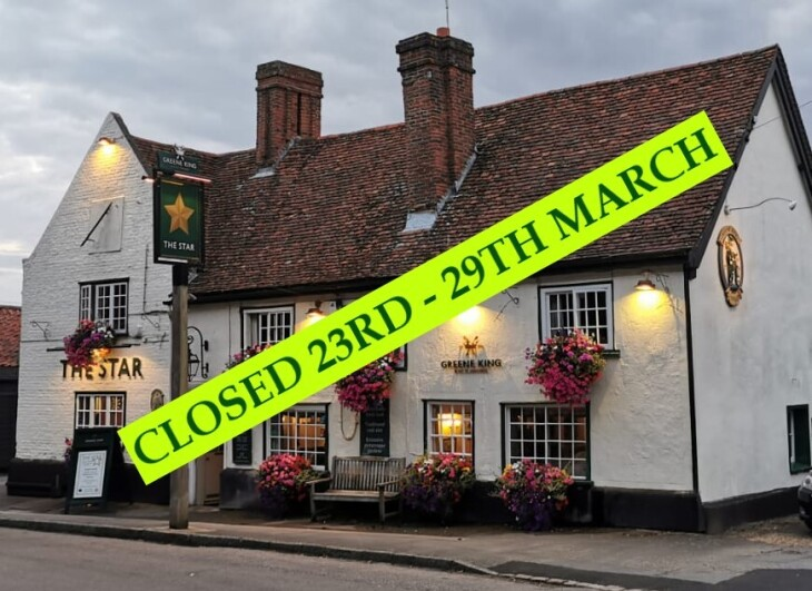 Pub Closure Commencing 23rd March