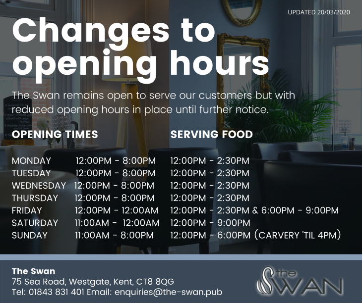 CHANGES TO OPENING HOURS