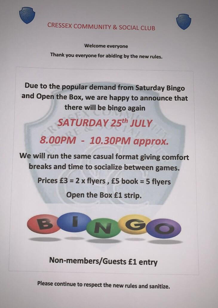 Saturday Bingo & Open the Box 25/7/20