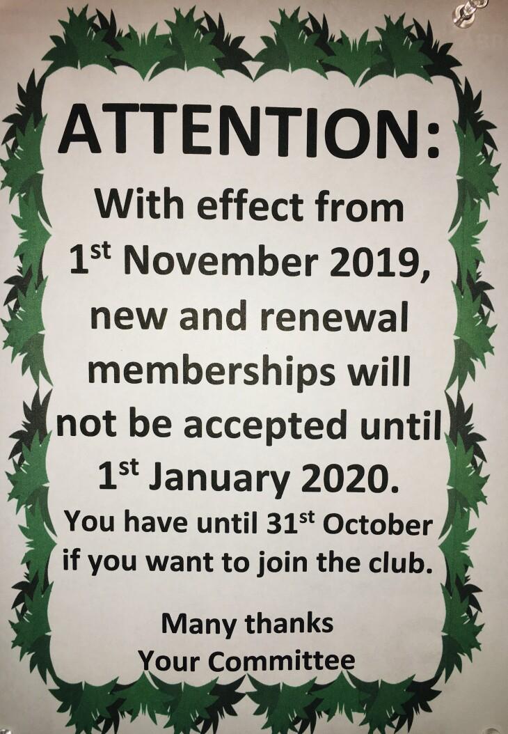 New Membership and Renewal Deadline