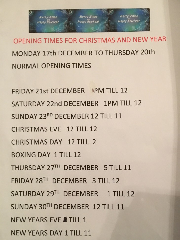 Festive Period Opening Hours