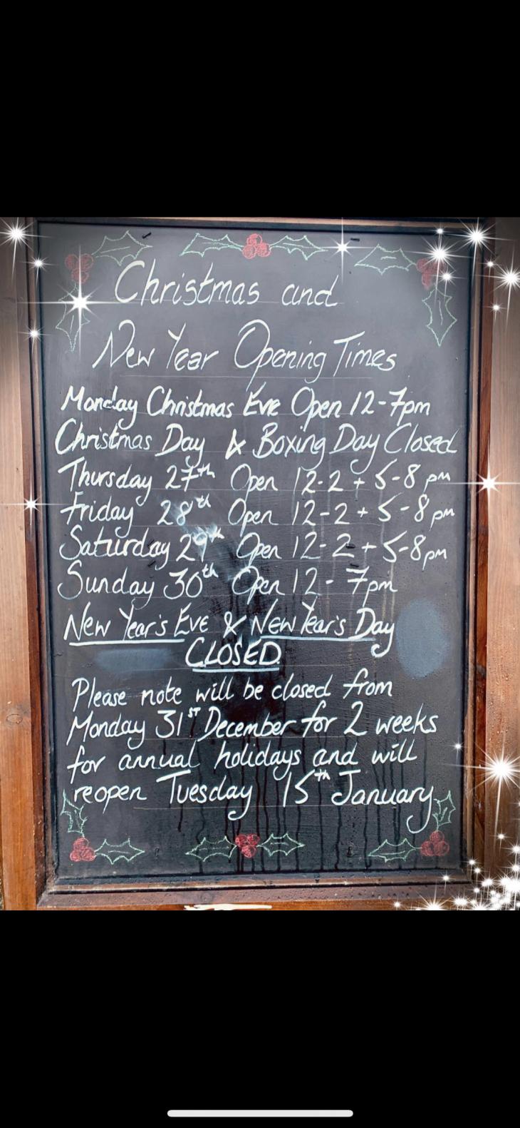 Opening Times Dec 2018 - Jan 2019