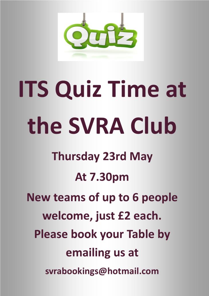 SVRA Cash Prize Quiz is this Thursday