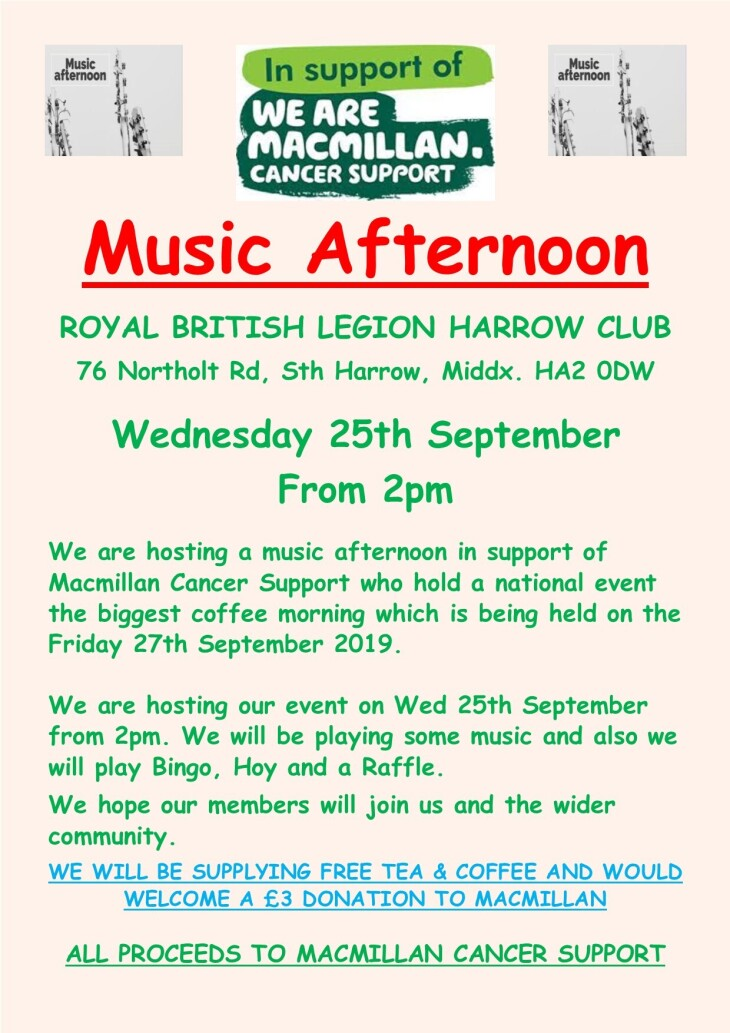 SPECIAL MUSIC AFTERNOON WED 25 SEP 19