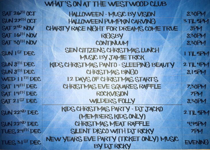 What's on at The Westwood Club 2019