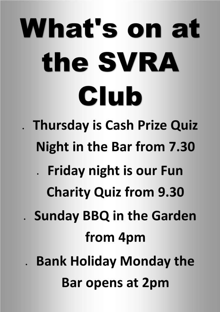 What's on at the SVRA Club