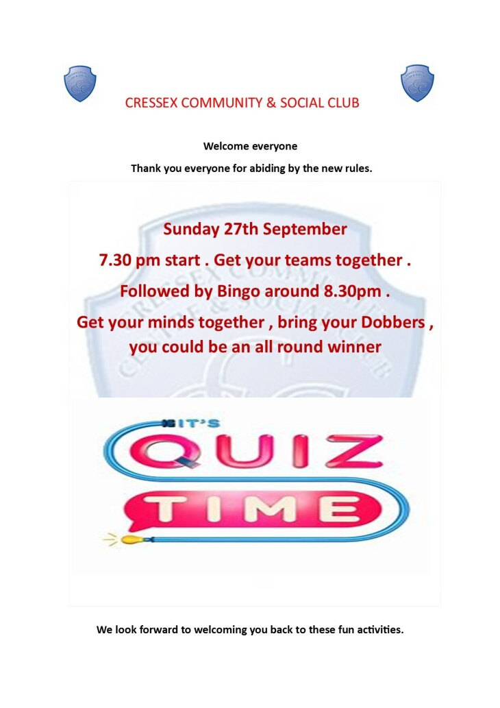 Sunday quiz & bingo September 2020