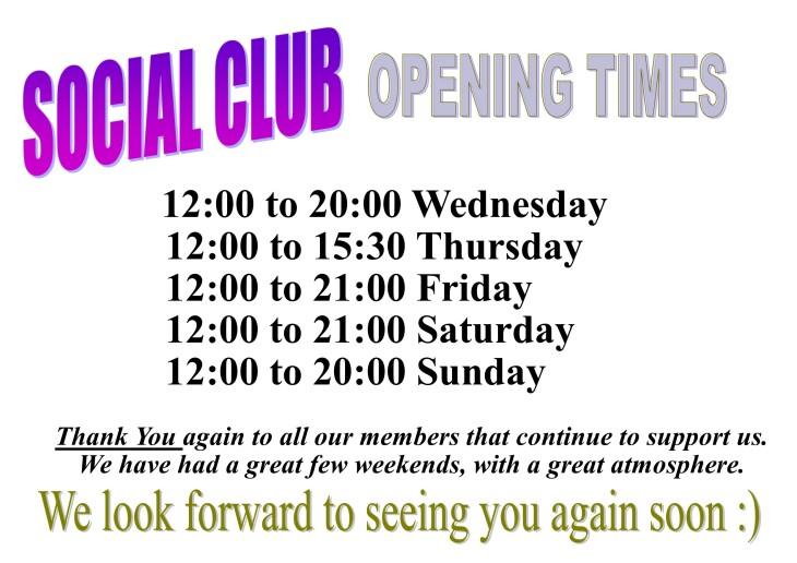 Social Club Opening Times fm 24-09-20