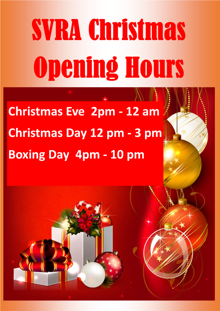 SVRA Christmas Opening Hours