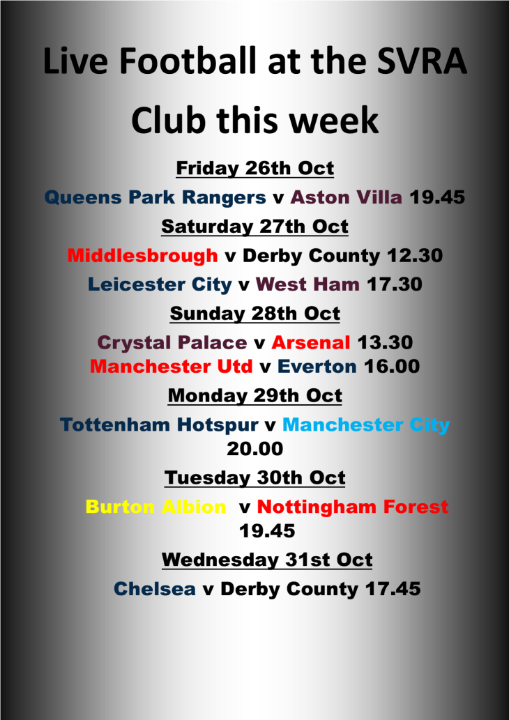 Live Football showing at the SVRA Club